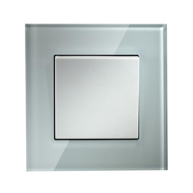 Crystal Glass Panel 1 Gang 2 Way Wall Switch for Office and household