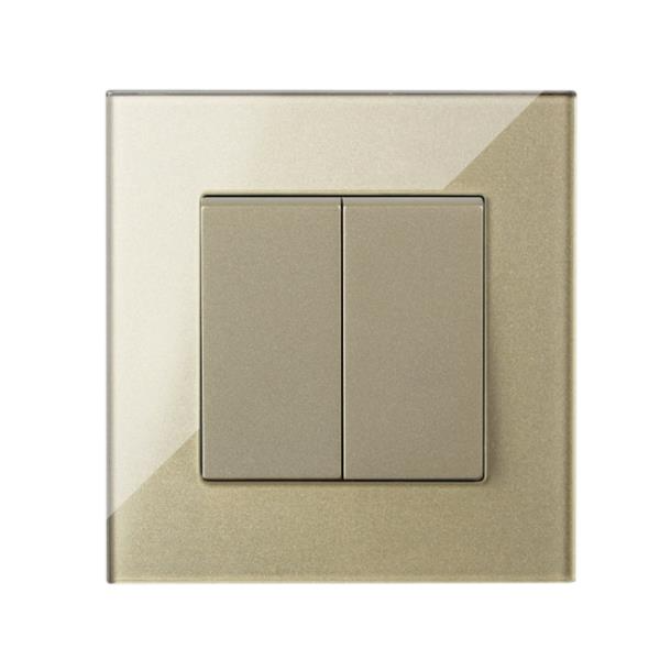 Tempered Glass Panel 2 Gang 2 Way Wall Switch for industrial use