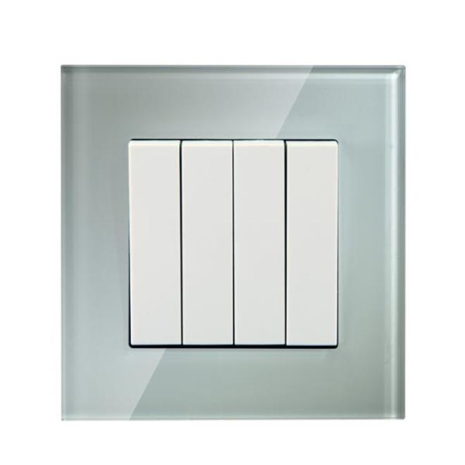 Crystal Glass Panel 4 Gang light switch 2 way