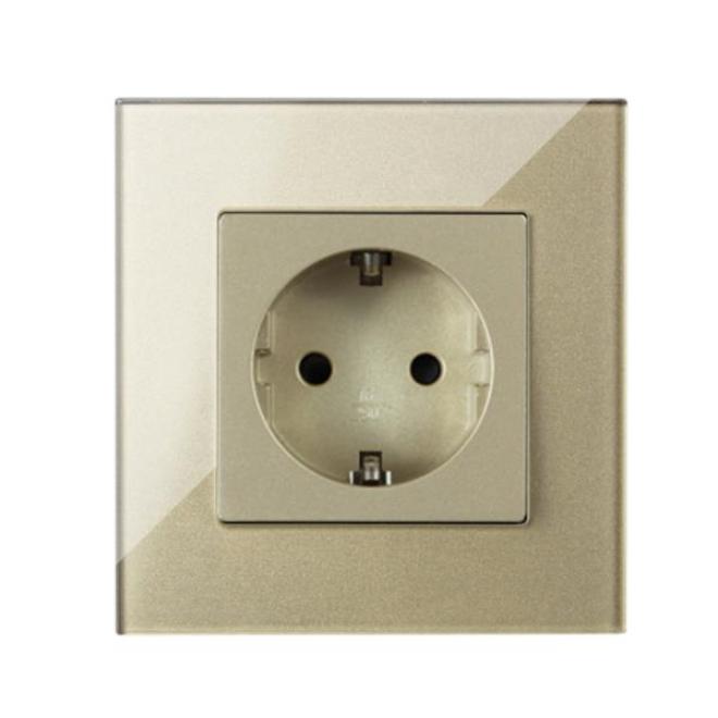 Crystal Glass EU Standard Wall Outlet socket