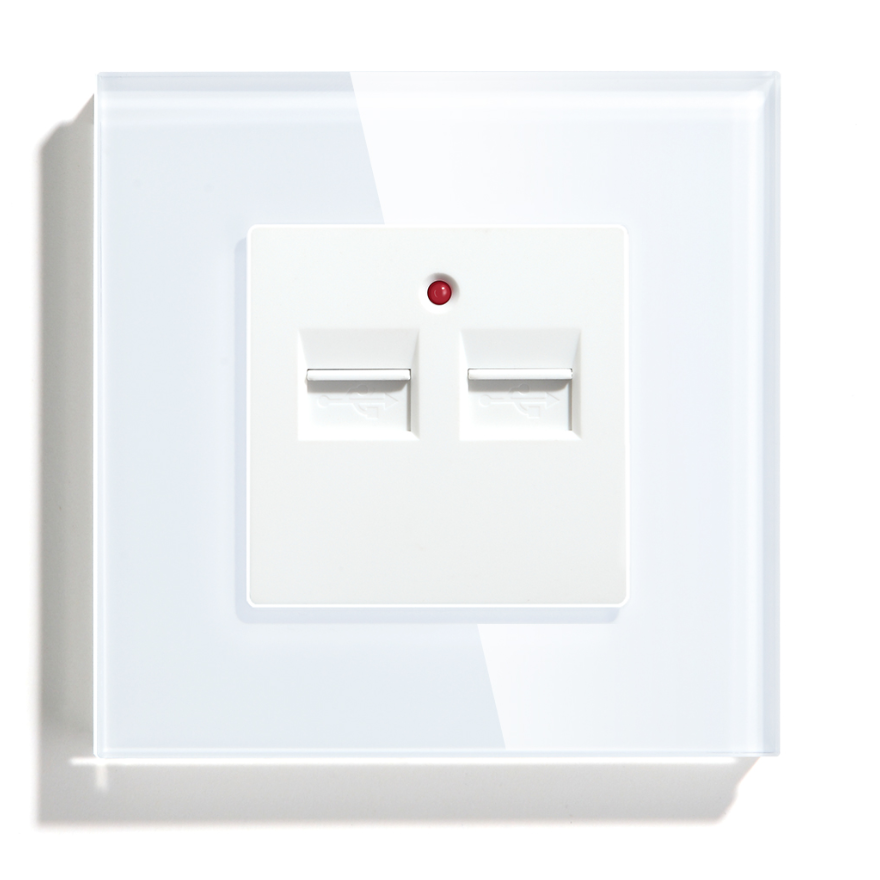 White Glass Panel Double USB Outlet Port