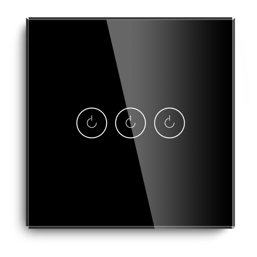 Glass Panel 3 Gang 1 Way Wifi Switch no neutral
