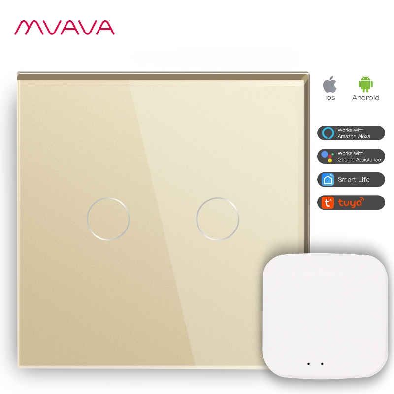 Home Automation Smart Zigbee Glass Touch Switch 2 Gang