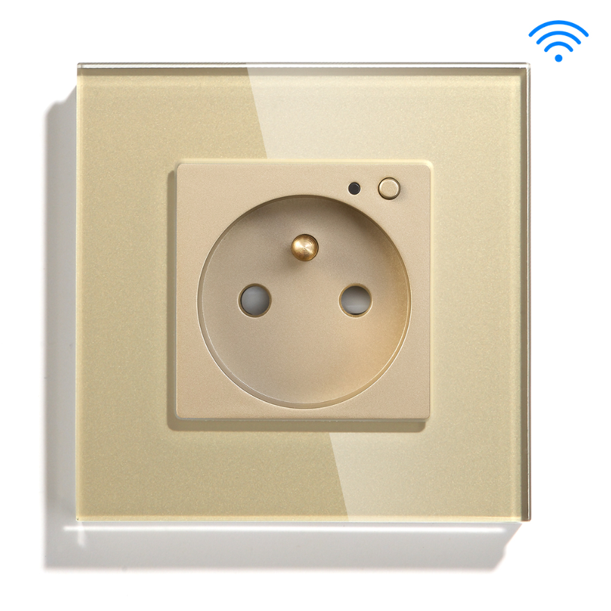 Gold Color Glass Panel Tuya App French Wall Smart Wifi Controlled prise electrique interrupteur