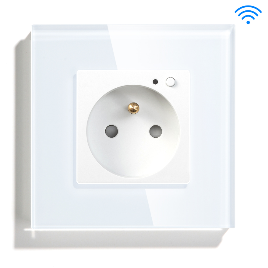 Glass Panel French Wall Smart Home App Wifi Control prise electrique murales Alexa Google Assistance