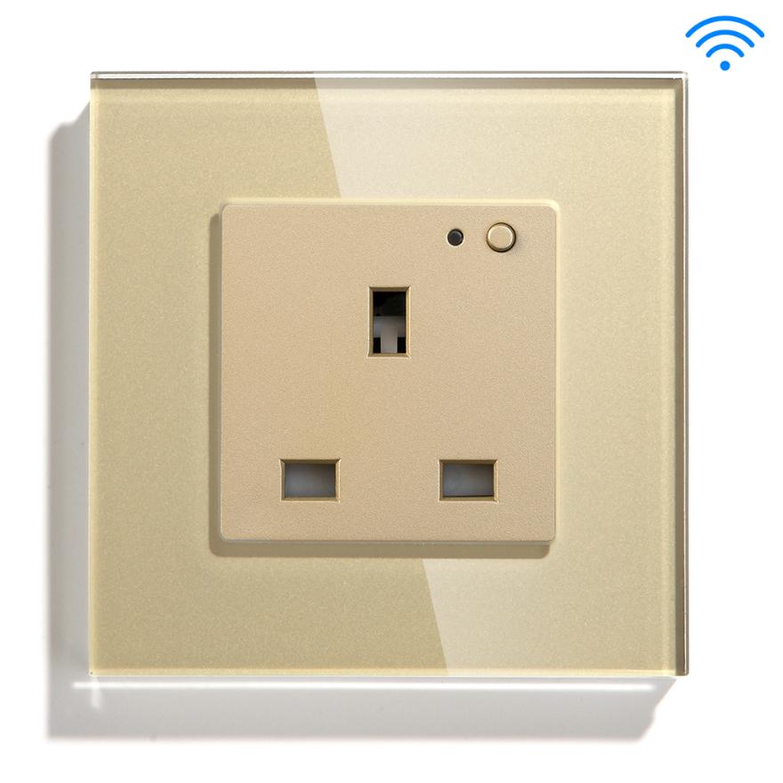 Gold Color Smart Wifi UK Standard Socket App Controlled Plug Malaysia Hongkong Singapore