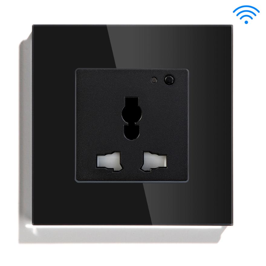 Black Color Glass Panel Universal Type Aisan Standard Australia Eu Smart WIFI Socket