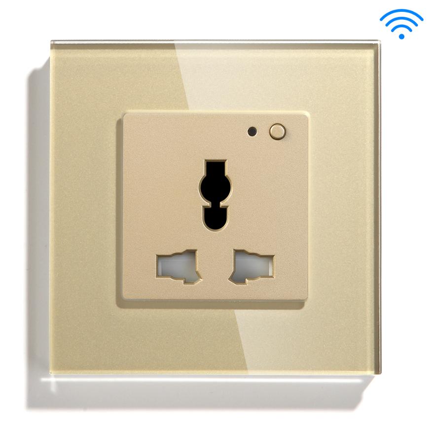 Gold Color Universal Shape Type Euro Aisan Afraca US Wifi Smart Socket Tuya App Home Wall Socket