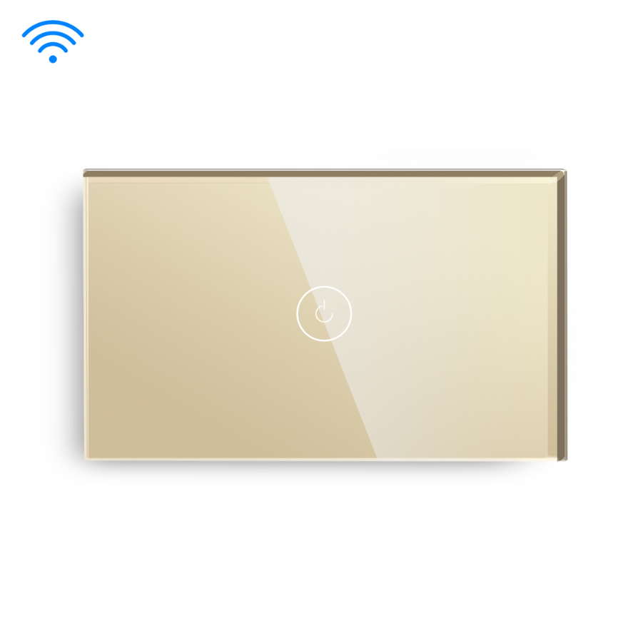 Gold Color 1 Gang 1 Way US type Wifi Switch With Neutral Line